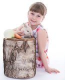 Cute little girl with her pet rabbit Royalty Free Stock Photo