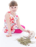 Cute little girl with her pet rabbit Royalty Free Stock Photos