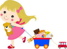 Cute little girl and her toys Royalty Free Stock Image