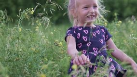 Cute little girl hiding in the high at sunset stock video footage
