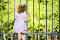 Cute little girl, hold with her hand a yellow dandelion and  loo Stock Photography