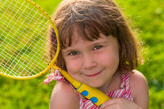 Cute little badminton player Stock Photography