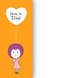 Cute little girl holding a balloon having text love you Dad and Royalty Free Stock Photo
