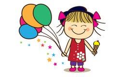 Cute little girl. Holding balloon and ice-cream Stock Photo