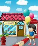 A cute little girl holding balloons. Illustration of a cute little girl holding balloons Stock Image