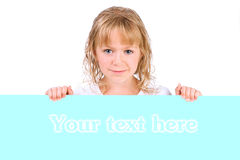 Cute little girl holding banner isolated Royalty Free Stock Photos