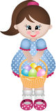 Cute little girl holding basket with Easter eggs Royalty Free Stock Photos