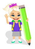 Cute little girl holding big green pencil Royalty Free Stock Photo