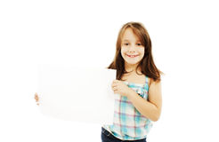 Cute little girl holding blank sign Stock Images