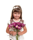 Cute little girl holding the bunch of flowers Royalty Free Stock Photography