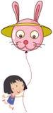 A cute little girl holding a bunny balloon Stock Photography