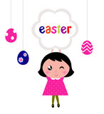 Cute little girl holding easter banner stock illustration