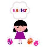 Cute little girl holding easter banner Stock Images