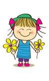 Cute little girl. Holding flower Stock Images