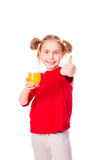 Cute little girl holding glass with juice with thumb up. Cute little girl holding glass with juice smiling  with thumb up isolated on white Stock Image