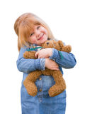 Cute Little Girl Holding Her Teddy Bear On White Royalty Free Stock Photography