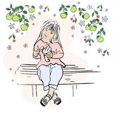 A cute little girl holding ice cream cone in garden on park bench. vector illustration stock illustration