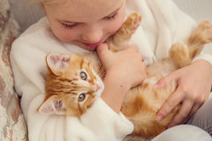 Cute little girl holding a kitten on a ginger hand Royalty Free Stock Photos