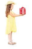 Cute little girl holding a present Stock Image