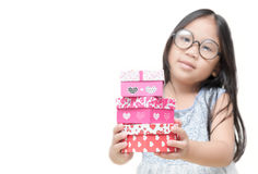Cute little girl holding small red present box gifts Royalty Free Stock Images