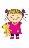 Cute little girl. Holding teddy bear Stock Photo