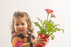Cute little girl holding vase with flowers. Portrait of a beautiful little girl holding vase with flowers looking at the camera smileing on white background Royalty Free Stock Images