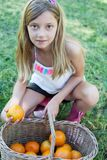 Cute little girl holding a basket Stock Images