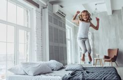 Cute little girl at home royalty free stock photo