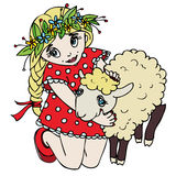 Cute little girl hugging a lamb. Vector illustration Royalty Free Stock Image
