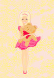 Cute little girl is hugging Teddy bear Royalty Free Stock Photo
