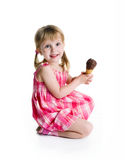 Cute little girl with the ice-cream Royalty Free Stock Photo