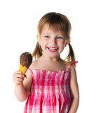 Cute little girl with the ice-cream. On a white background Royalty Free Stock Photography