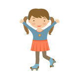 Cute little girl ice skating Royalty Free Stock Photos