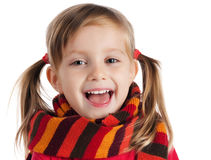 Cute Little Girl In A Striped Scarf Stock Image