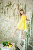 Cute Little Girl In Spring Studio Royalty Free Stock Images