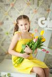 Cute Little Girl In Spring Studio Royalty Free Stock Image