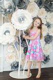 Cute Little Girl In Spring Studio Royalty Free Stock Photos