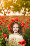 Cute Little Girl In The Poppy Field Royalty Free Stock Photos
