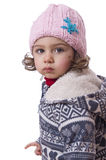 Isolated girl. Dressed for cold temperatures. Royalty Free Stock Images