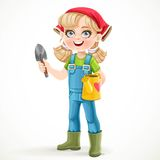 Cute little girl in jeans overalls and rubber boots Stock Photo