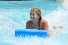 The cute little girl joying  in the water park Royalty Free Stock Photos