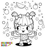 Cute little girl juggling fruit coloring book page. Vector black and white illustration of a happy little girl juggling with healthy fruits. Coloring book page Stock Image