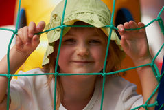 Cute little girl in a jumping castle Royalty Free Stock Images