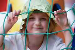 Cute little girl in a jumping castle Royalty Free Stock Photos