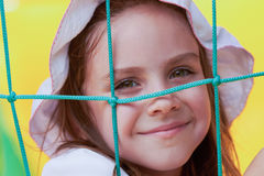Cute little girl in a jumping castle Royalty Free Stock Image