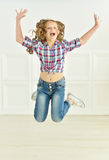 Cute little girl jumping Royalty Free Stock Photos