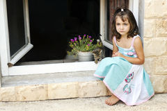 Cute little girl and kitten to play Stock Photo
