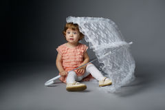 Cute little girl with lace umbrella Royalty Free Stock Photos