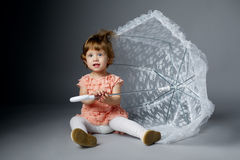 Cute little girl with lace umbrella Royalty Free Stock Image