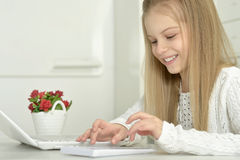 Cute little girl  and  laptop Royalty Free Stock Images
